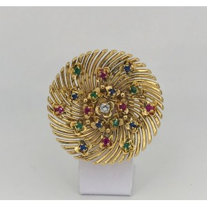 Broche Ronde signée REGNER pierres précieuses - Bijou Vintage