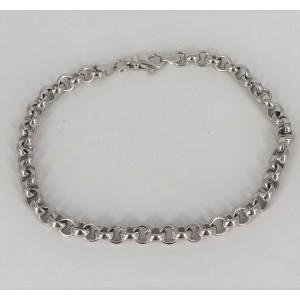 Bracelet maillons jaseron or blanc - Bijou Vintage