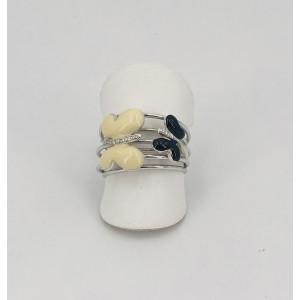 Bague or blanc papillons émaille noire et ivoire - Bijou Vintage