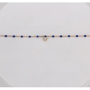 Bracelet Mini Gigi Clozeau - Diamant - Or rose résine bleu de Prusse