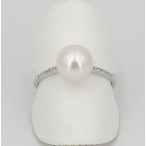 Bague or blanc perle eau douce et brillants