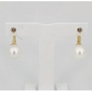 Boucles d'oreilles dormeuses or jaune perle de culture