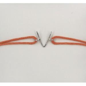 "Léo Collection bracelet cordon pendentif or blanc ""V"""