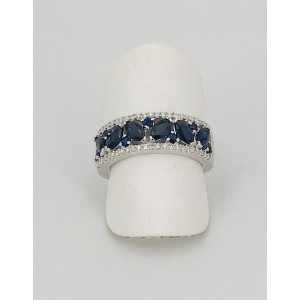 Bague or blanc saphirs et diamants
