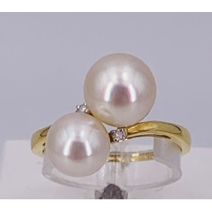 Bague or jaune duo de perles eau douce et brillants