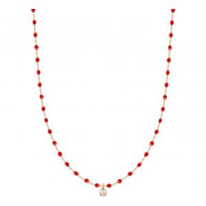 Collier mini Gigi résine rouge coquelicot - 1 diamant