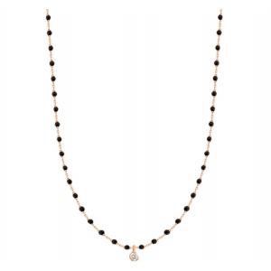 Collier mini Gigi résine noire - 1 diamant