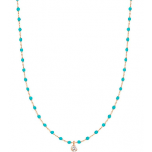 Collier mini Gigi résine Turquoise vert - 1 diamant