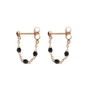Boucles d'oreilles Gigi Clozeau classique résine noire or rose