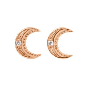 Boucles d'oreilles Lune Gigi Clozeau - Or rose diamants
