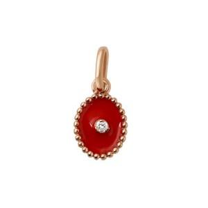 Pendentif Gigi Clozeau étoile du Nord or rose diamant résine coquelicot