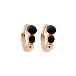 Boucles d'oreilles Créole classique Gigi Clozeau - Or rose résine noire