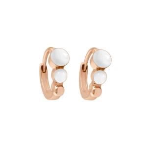 Boucles d'oreilles Créole classique Gigi Clozeau - Or rose résine blanche