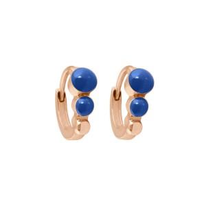 Boucles d'oreilles Créole classique Gigi Clozeau - Or rose résine bleu de prusse