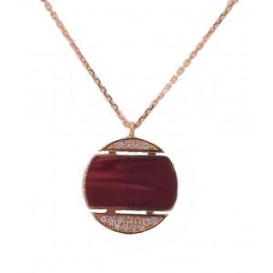 Pendentif avec chaine collection Clozeau or rose résine rouge