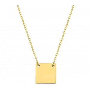 Collier plaque carré or jaune 18 ct
