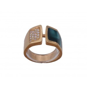 Bague collection Clozeau or rose résine vert bronze