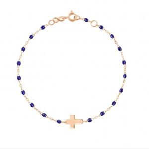 Bracelet Gigi Clozeau or rose croix perle de résine bleu nuit 50