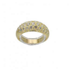 Bague jonc pavage diamants or jaune - Bijou Vintage