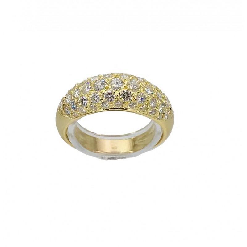 Bague jonc pavage diamants or jaune - Bijou Vintage