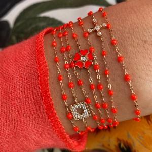 Bracelet classique Gigi Clozeau or 18 ct - 750/000 - résine Corail