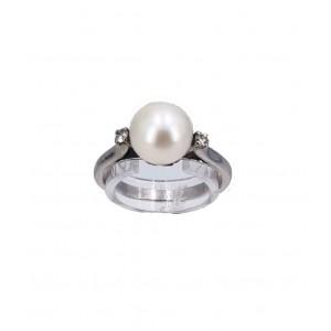 Bague or blanc perle de culture Akoya - Bijou Vintage