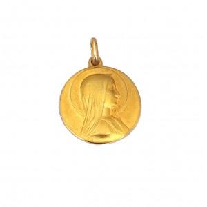 Médaille Vierge massive or jaune - Bijou Vintage