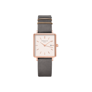 Montre Rosefield - The Boxy Gris éléphant - or Rose - QWGR-Q12