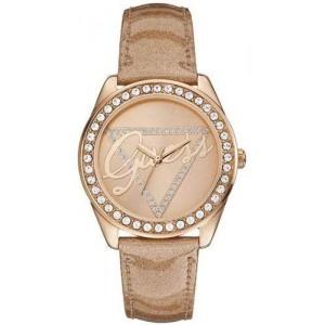 Montre Guess - Bracelet en cuir beige - W0023L4