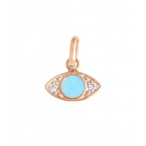 Pendentif Gigi Clozeau oeil or rose diamants