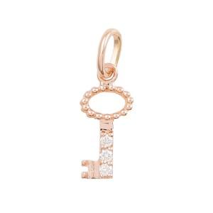 Pendentif Gigi Clozeau clé or rose diamants